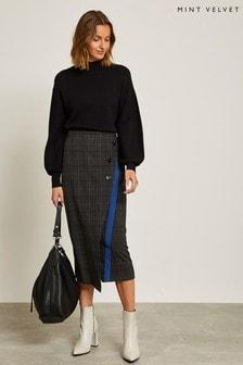 Mint Velvet Grey Check Midi Skirt