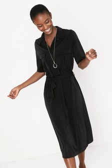 Utility Pocket Jersey Shirt Dress