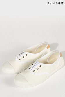 Jigsaw White Libby Canvas Plimsoll