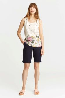 Joules Cream Bo Print Chinoise Pattern Jersey Vest