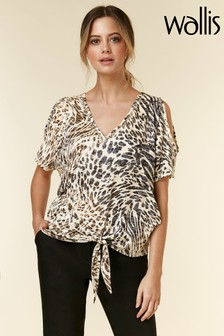 Wallis Animal Petite Hotfix Tie Front Top