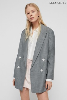 AllSaints Grey Isa Check Blazer