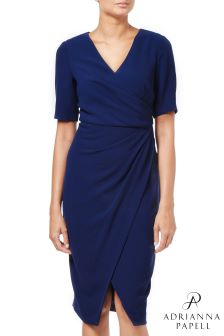 Adrianna Papell Blue Textured Crepe Draped Wrap Dress