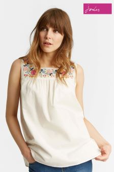 Joules Cream Carlie Sleeveless Top With Embroidery