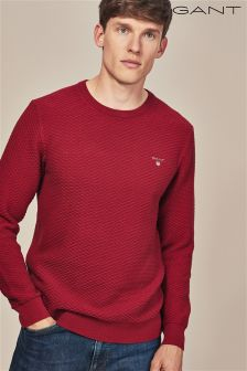 GANT Deep Red Triangle Textured Crew Knit Jumper