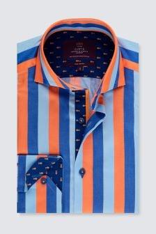 Hawes & Curtis Blue/Red Multi Stripe High Cuff Shirt