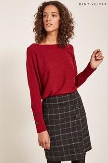 Mint Velvet Black Check Button Wrap Skirt