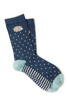 FatFace Navy Hedgehog Spot Socks