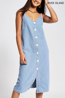 River Island Maxi Slip Denim Dress