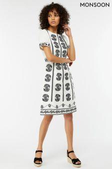 Monsoon Cream Amber Linen Mono Dress