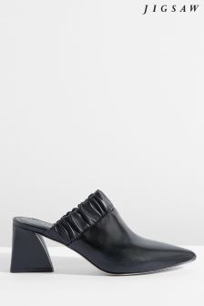 Jigsaw Black Ren Ruched Heeled Mule