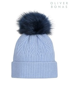 Oliver Bonas Blue Leaf Knit Faux Fur Pom Blue Beanie Hat