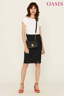 Oasis Black Ria Workwear Skirt