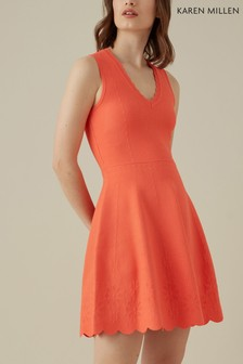 Karen Millen Orange Placed Jacquard Scallop Knit Dress