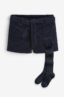 Вельветовые шорты и колготки (3-16 лет)