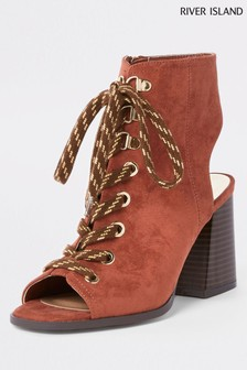 River Island Rust Heel Lace-Up Boot