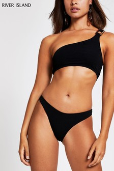 River Island Black Texture High Leg Bikini Brief