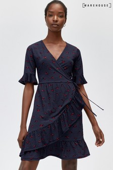 Warehouse Navy Lips Print Tea Dress