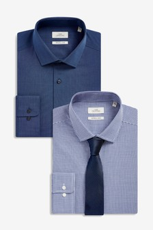Texture And Puppytooth Shirts Two Pack With Tie