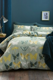 Ornate Butterfly Printed Duvet Cover and Pillowcase Set