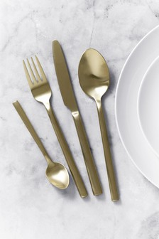 16 Piece Brushed Gold Kensington 16pc Cutlery Cutlery Set