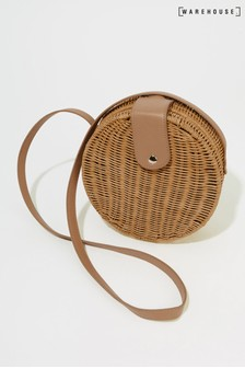 Warehouse Brown Mini Circle Rattan Cross Body Bag