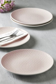 Set of 4 Geo Embossed Dinner Plates