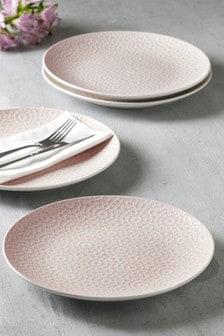 Geo Embossed Set of 4 Dinner Plates