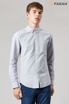 Farah Grey Brewer Slim Long Sleeve Shirt