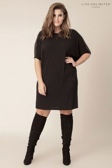 Live Unlimited Black Cocoon Jersey Dress With Sequin