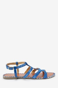 Raffia Strappy Gladiator Sandals