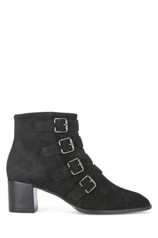 Mint Velvet Black Hope Suede Multi Buckle Suede Boot