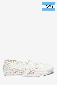 Toms White Lace Espadrille