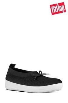 FitFlop™ Black Uberknit Ballerina With Bow Shoe