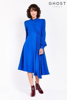 Ghost London Blue Martha High Neck Satin Back Crepe Dress