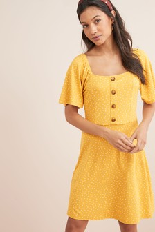 Spot Print Button Dress