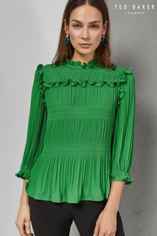 1079ad807 Ted Baker Green Airlie Pleated Smocking High Neck Top