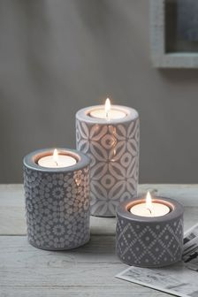 Set of 3 Geo Pattern Tea Light Holders