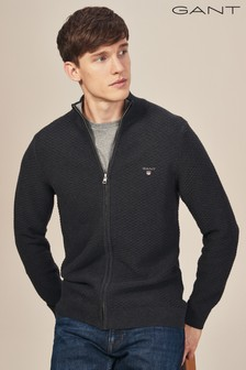 GANT Black Triangle Textured Full Zip Cardigan Knit