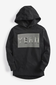 Long Sleeve Slogan Hoody Top (3-16yrs)