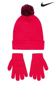 Nike Little Kids Pink Beanie And Gloves Set