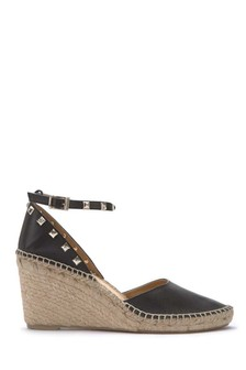 Mint Velvet Black Orla Leather Wedge Stud Espadrille