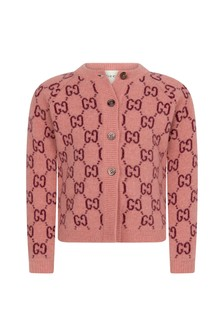 GUCCI Kids Baby Girls Pink Wool Knitted GG Cardigan