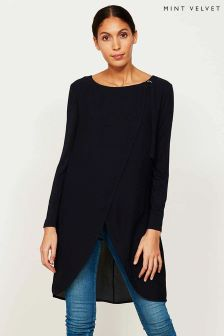 Mint Velvet Blue Wrap Front Jersey Sleeve Tunic