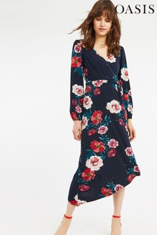 Oasis Blue Floral Hanky Hem Midi Dress