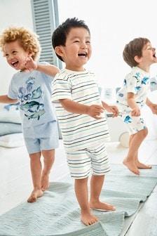 Zestaw trzech kompletów piżam z nadrukiem Ocean (9m-cy-8lata)