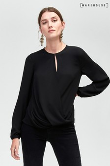 Warehouse Long Sleeve Drape Front Top