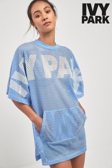 Ivy Park Light Blue Mesh Logo Tee