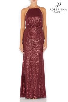 Adrianna Papell Red Beaded Mesh Long Dress