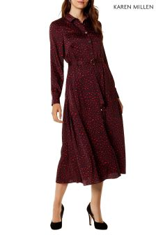 Karen Millen Red Leopard Print Shirt Dress